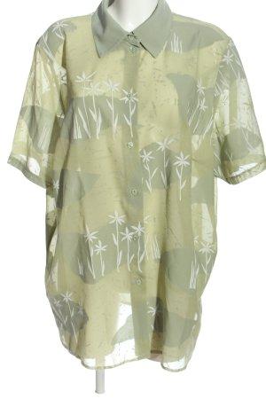 Lady Charme Kurzarm-Bluse khaki-weiß abstraktes Muster Casual-Look