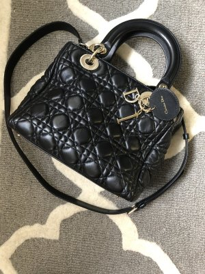 Lady Dior Tasche bag gesteppt Cross Body schwarz Silber Medium