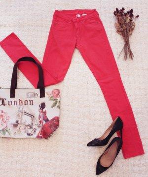 H&M Pantalón de tubo rojo-rojo claro