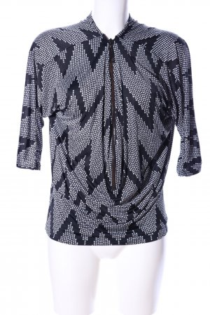 Lady Lol Longshirt schwarz-weiß grafisches Muster Casual-Look
