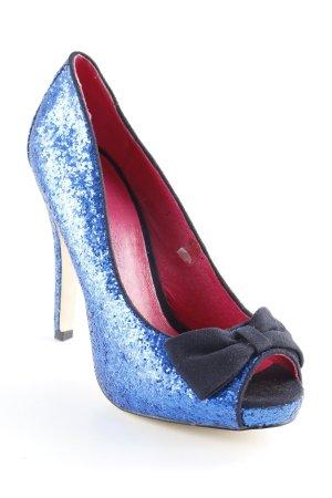 Ladystar by daniela katzenberger Peeptoe Pumps blau Glitzer-Optik