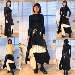 Asos Maxi Skirt white-black