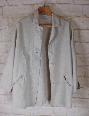 Lässig Designer Leinenjacke Long Jacke Blazer Klaus Thierschmidt Größe M 40 Beige Natur Cardigan Oversize