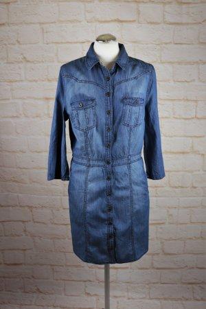 Lässig Jeanskleid Hemdblusenkleid Jeans Yessica Größe M 38 40  Blau Dunkelblau Knopfleiste Karo Muster