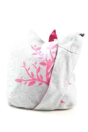 Lässig Stofftasche hellgrau-pink Blumenmuster Casual-Look
