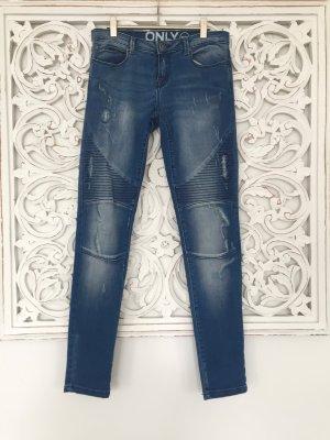 Only Jeans de moto bleu coton
