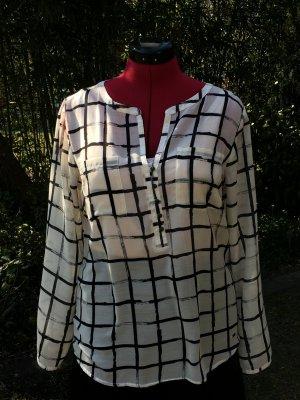 Tom Tailor Blouse à carreaux blanc cassé-noir coton