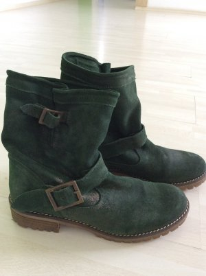 Lässige Boots Stiefeletten Gr.39 grün mit leichtem goldenen Schimmer Profilsohle