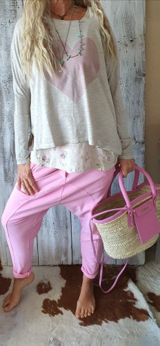 Pantalon boyfriend rose-rose coton