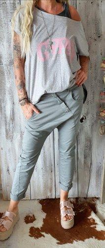 Pantalon boyfriend gris coton