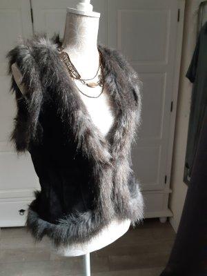 Hallhuber Leather Vest anthracite leather