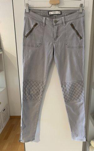 Abercrombie & Fitch Pantalon cargo gris clair coton