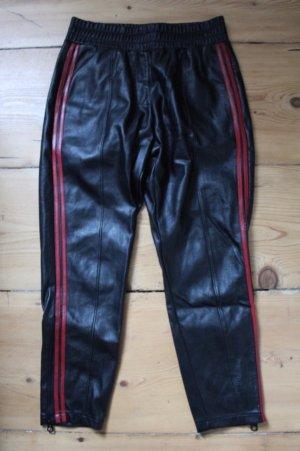 Reserved Pantalón de cuero negro-rojo oscuro