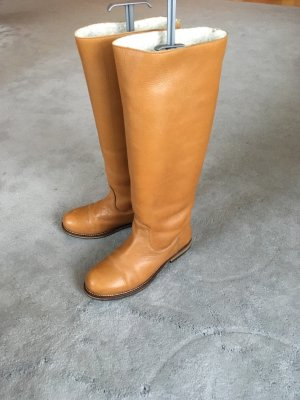 Aces of London Wide Calf Boots cognac-coloured leather