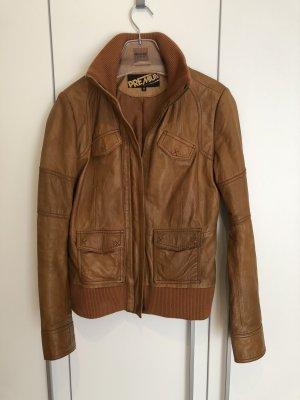 Tom Tailor Denim Leather Jacket cognac-coloured-brown