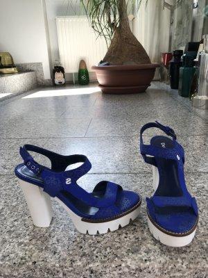 Desigual Sandalias de tacón con plataforma azul-blanco fibra textil