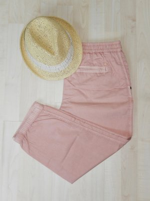 Lässige, rosafarbene Stoffhose mit süßen Details (Jogger-Style, Innenbeinlänge ca. 54cm, 100% Baumwolle) - Neuwertig!