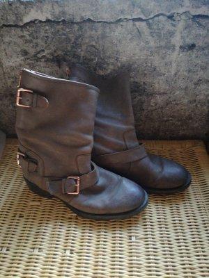 Lavorazione Artigiana Bottines plissées gris brun