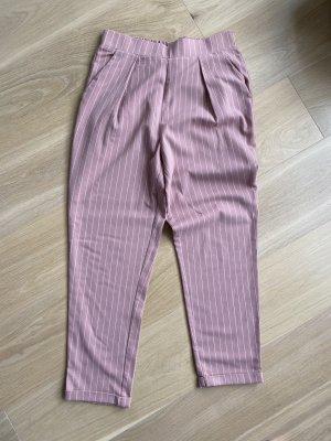 Stradivarius Pantalone jersey bianco-rosa