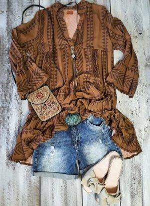 Robe Hippie marron clair-brun viscose