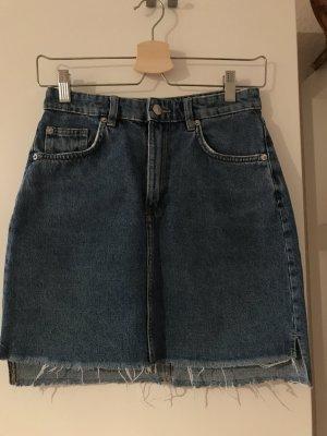 H&M Denim Skirt steel blue cotton
