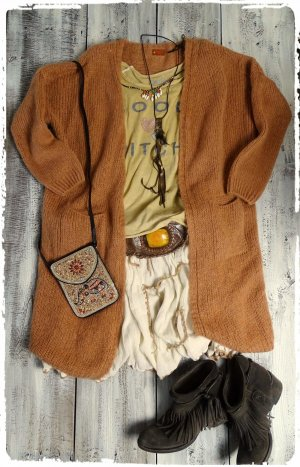 Knitted Coat light brown mixture fibre