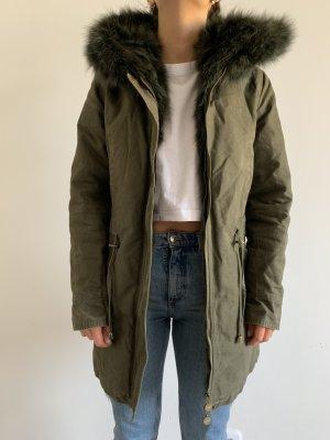 Hooded Coat dark green cotton