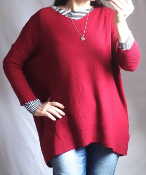 Made in Italy Pull oversize rouge foncé-rouge viscose
