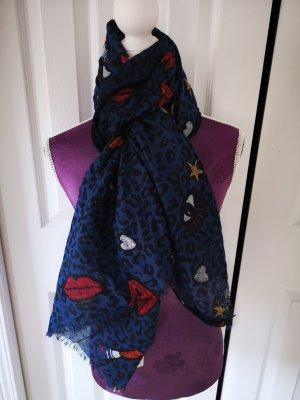 lässiger Schal aus Baumwolle Mund Kuss rot  blau NEU ♥️ Fa. AZONE