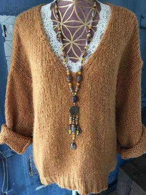 Lindsay Moda Pullover a maglia grossa sabbia Mohair