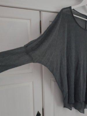 lässiger Sommer-Baumwollpulli mit Fledermausärmeln, grau, 38