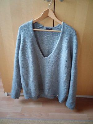 Lässiger und flauschiger Pullover mit V-Ausschnitt, Strickpullover