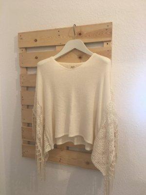 Hollister Koszulka z dekoltem woda biały Tkanina z mieszanych włókien
