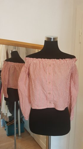Subdued Off the shoulder top wit-donkerrood