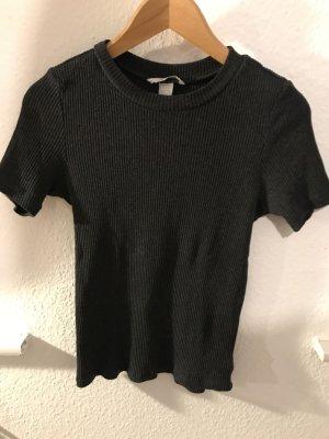 Lässiges geripptes Shirt in Anthrazit