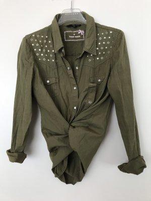 Tally Weijl Denim Shirt khaki-green grey