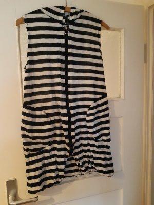 lässiges kleid schwarz weiß gestreiftes kleid mit 2 Taschen