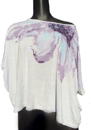 Mango Jeans Print Shirt baby blue-purple viscose