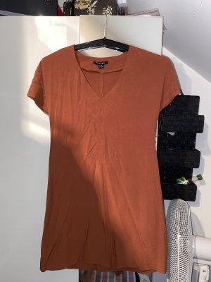 Vestido estilo camisa marrón-coñac