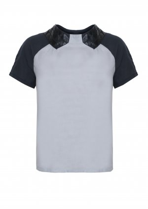 Lässiges Shirt mit Applikation, Designer Top, kurze Raglan Ärmel