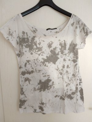 Camicia monospalla bianco-grigio chiaro