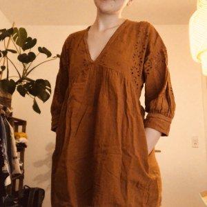 Zara Vestido tipo túnica bermejo