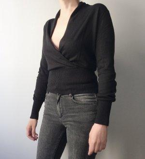 Lässiges Top für high waist Hosen / Schwarz / Seide-Wolle-Gemisch