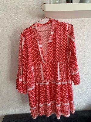 Lässiges Tunika-Kleid rot/weiß