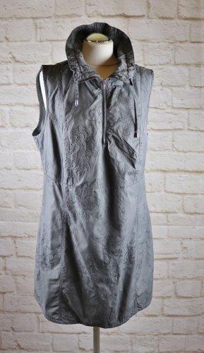 Lagenlook Long Tunika Shirt Top Gina Laura Größe 44 46 XL Grau bestickt Stickerei Kragen Baumwolle