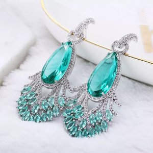 Pessina-Jewelry Boucles d'oreille en or blanc-turquoise