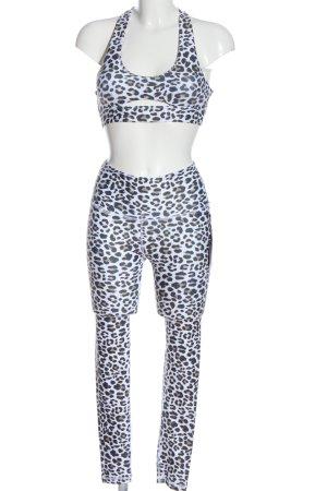 Lahana Active Jersey Twin Set weiß-schwarz Allover-Druck extravaganter Stil
