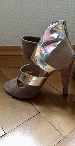Lala Berlin Peep Toe Pumps silver-colored-grey brown