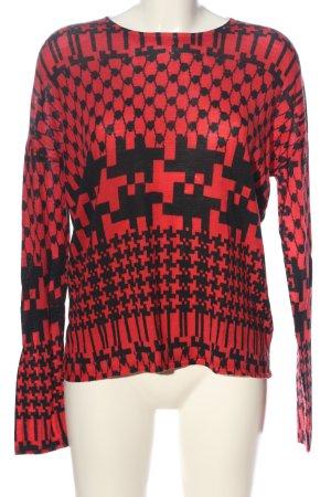 Lala Berlin Langarm-Bluse rot-schwarz Mustermix Casual-Look