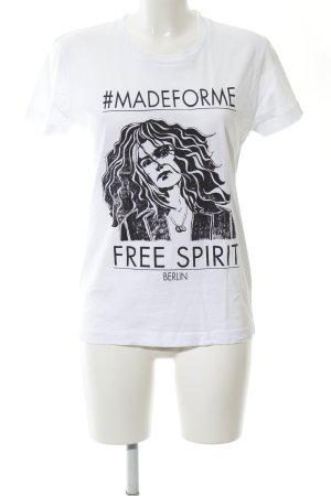 Lala Berlin Print-Shirt weiß-schwarz Motivdruck Casual-Look